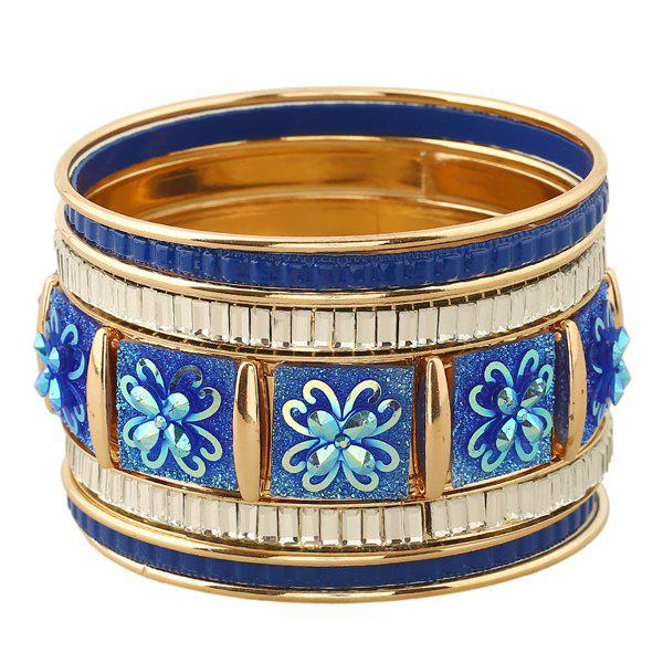 Flowers Faux Gem Layered Bracelets - SAPPHIRE BLUE