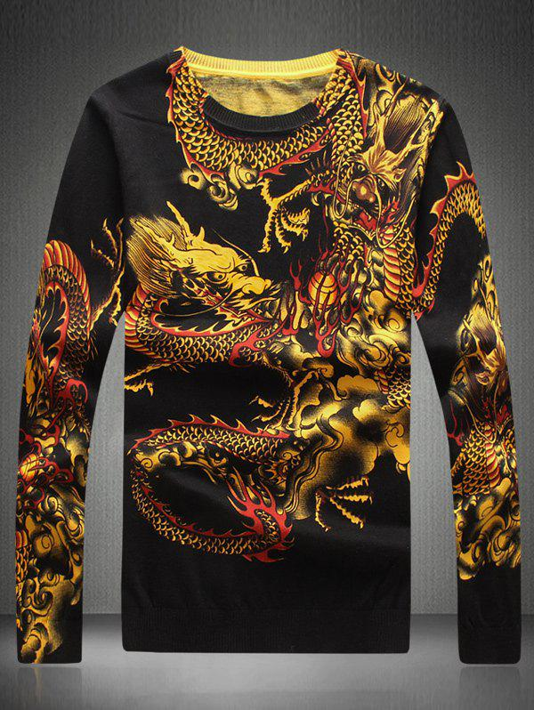 Round Neck Dragon Printed Sweater - YELLOW 4XL