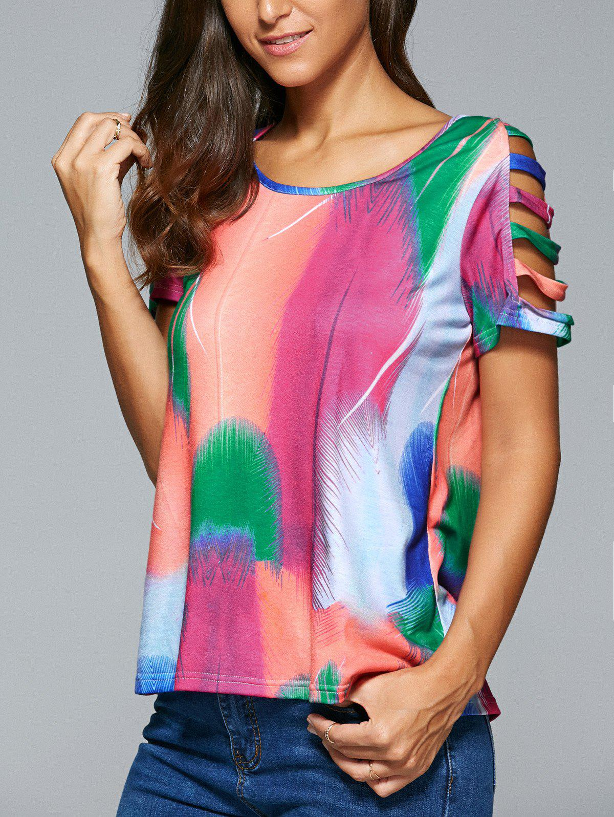Hollow Out Multi Color Feather Print T-Shirt - COLORMIX XL