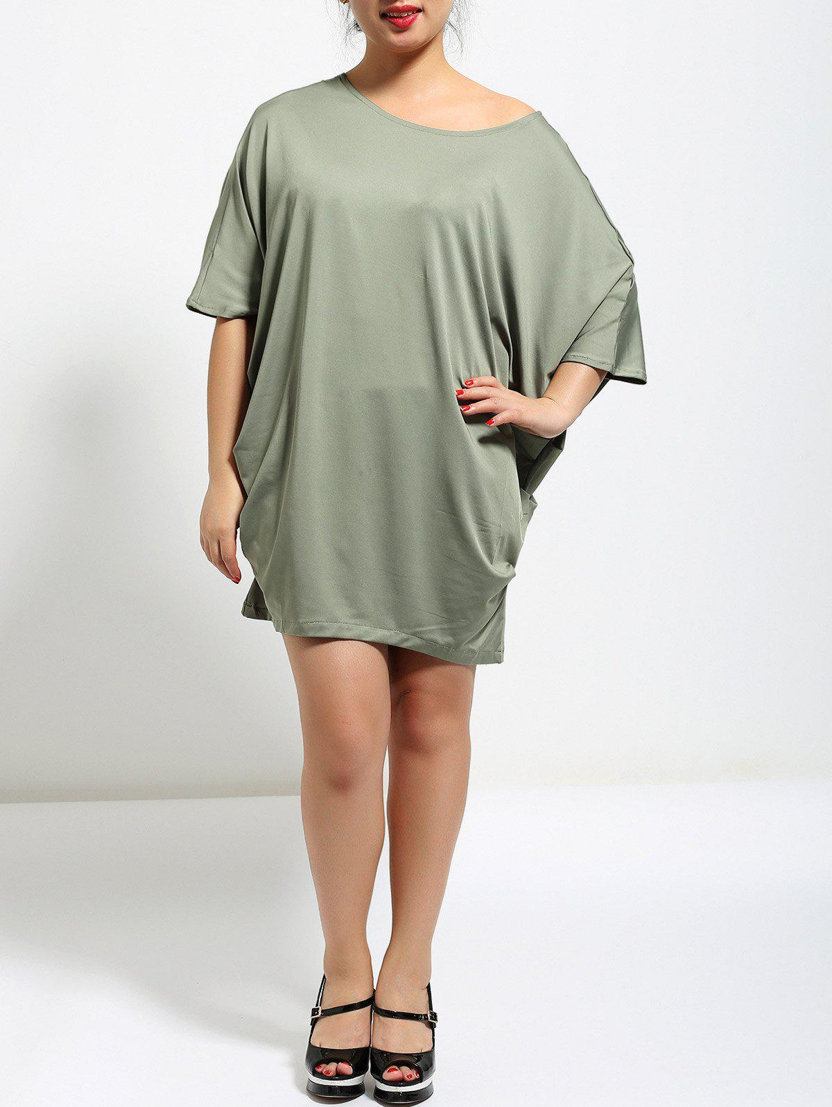 Batwing Sleeve Ruched Baggy  Dress - GREEN XL