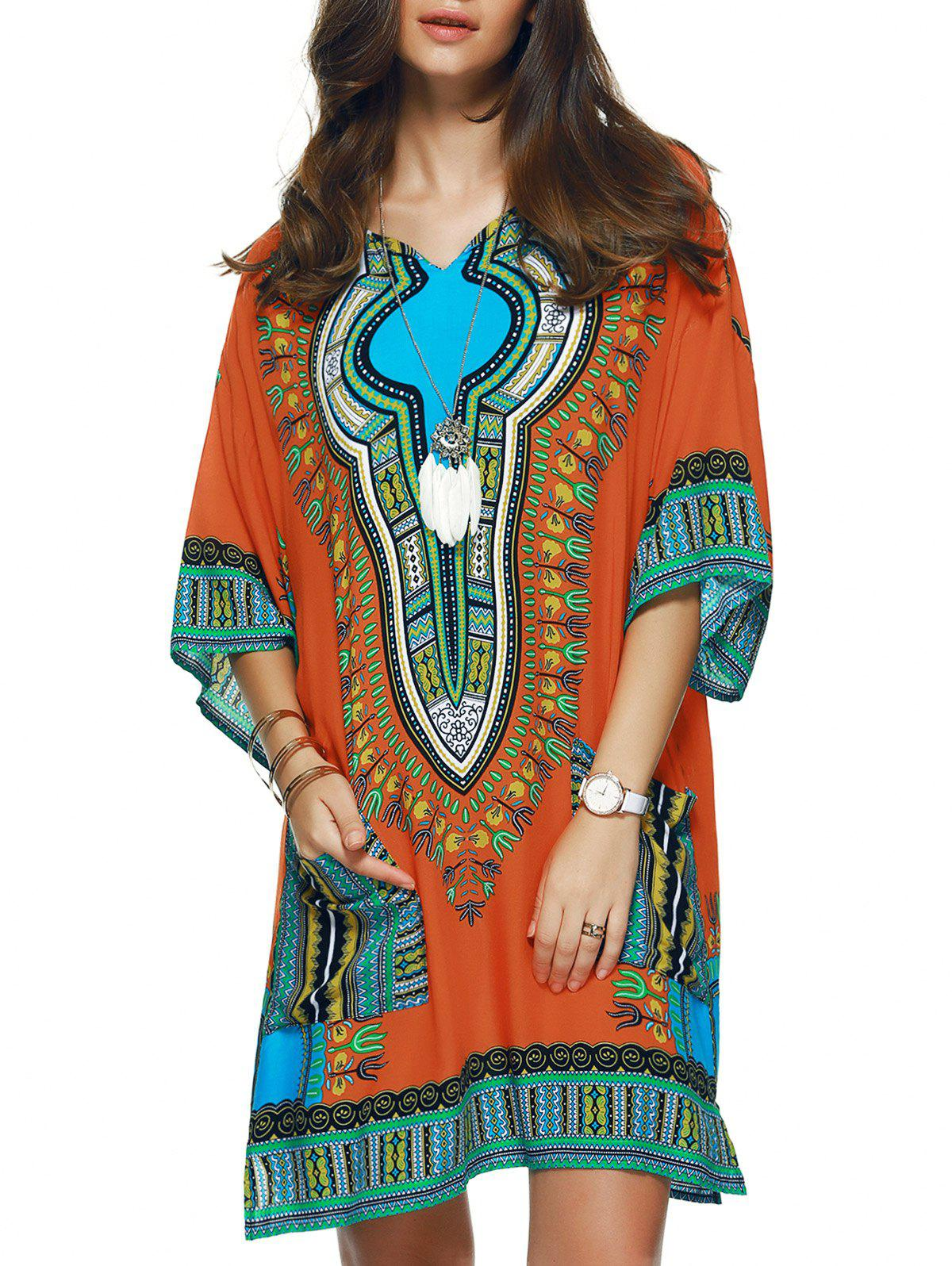 Ethnic Pattern Loose Dress - COLORMIX XL