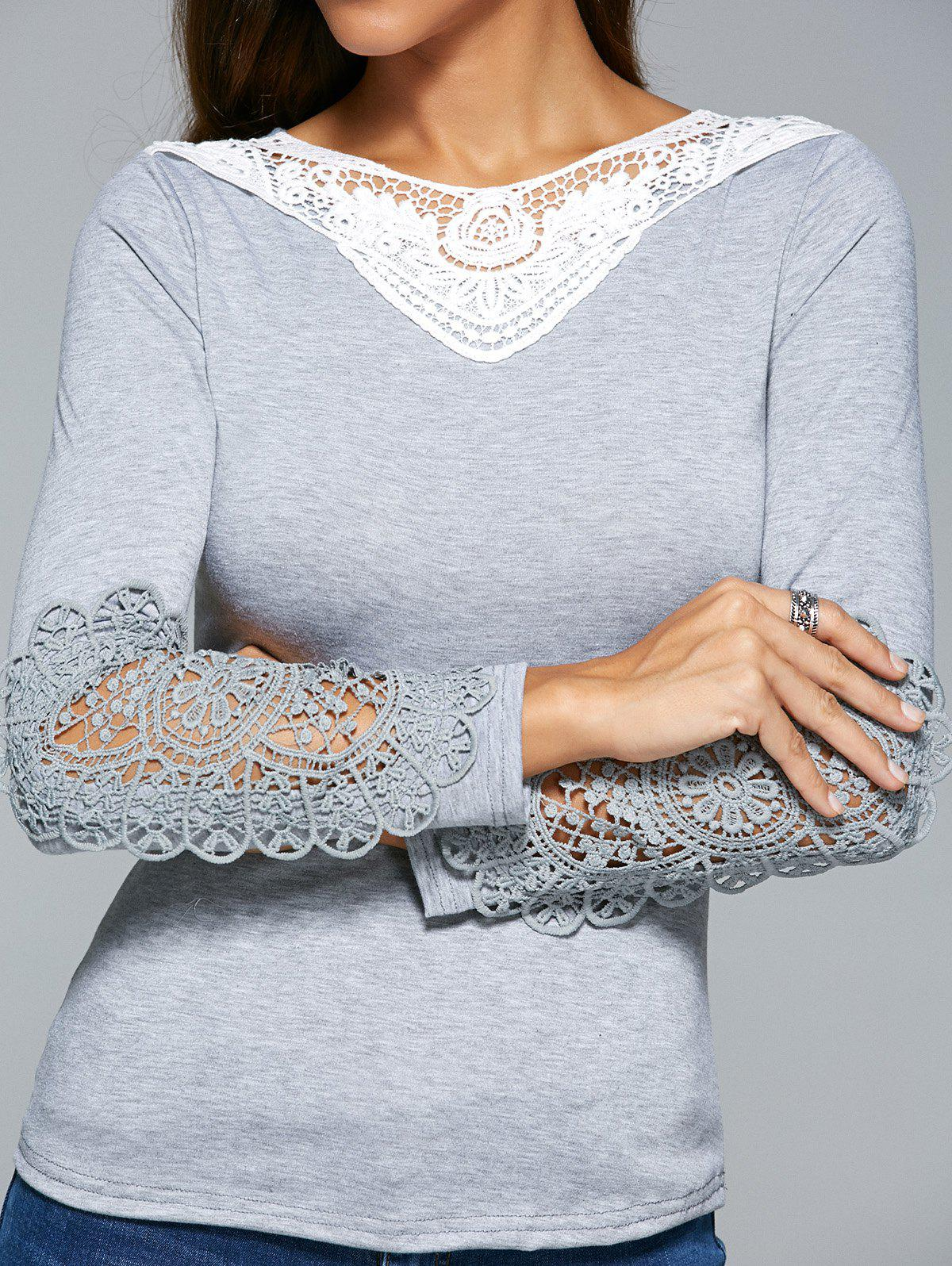 Lace Spliced Crochet Hollow Out T-Shirt