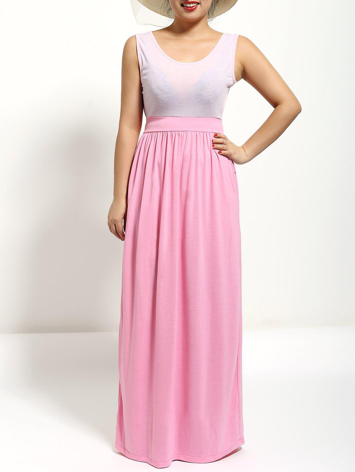 High Waist Scoop Neck Fit and Flare Dress - PINK XL
