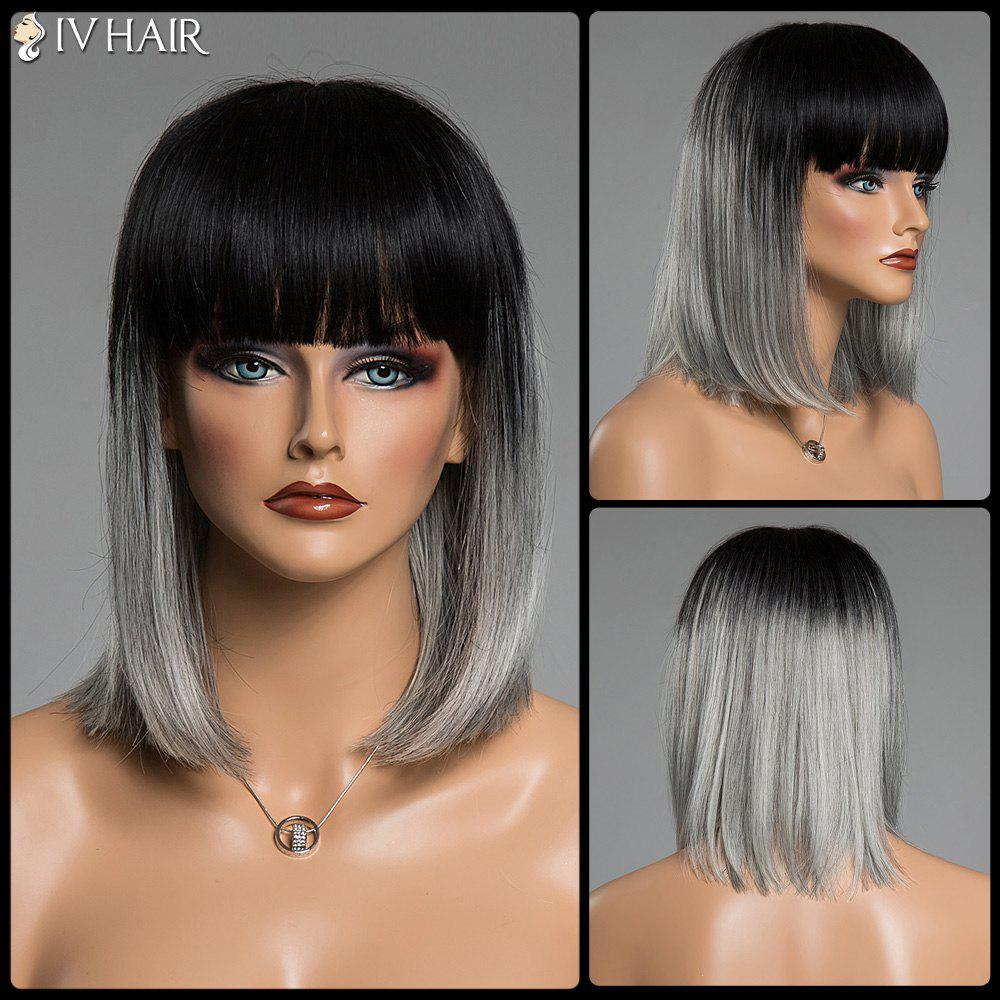 Two-Tone Ombre Straight Full Bang Human Hair Medium Siv Hair Capless WigHair<br><br><br>Color: COLORMIX