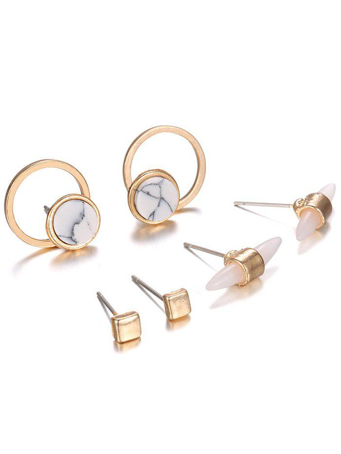 Faux Rammel Alloy Round Square Earrings - GOLDEN