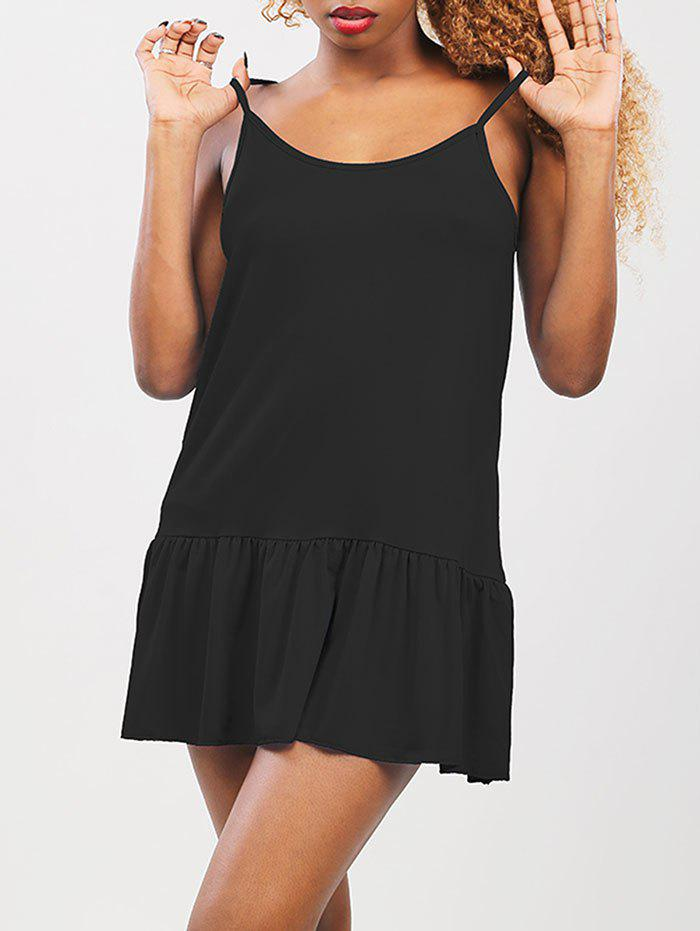 Ruffled Drop Waist Summer Dress - BLACK L
