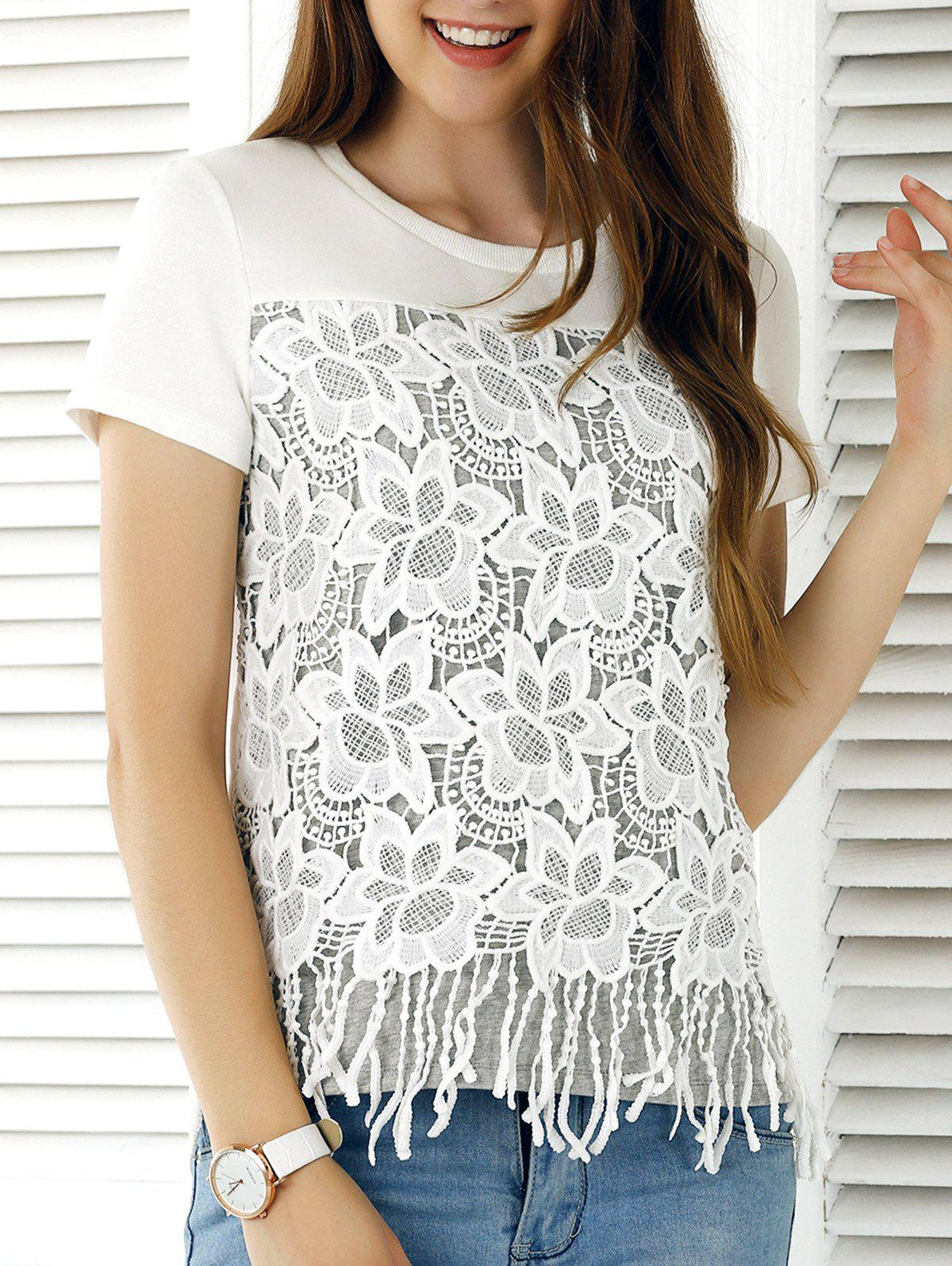 Embroidery Tassels Tee - WHITE XL
