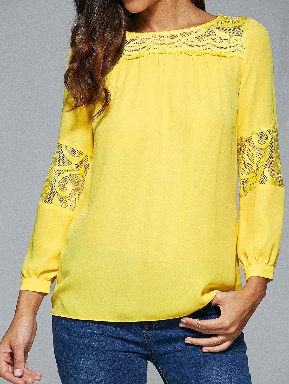 Lace Spliced Long Sleeve Blouse - YELLOW XL