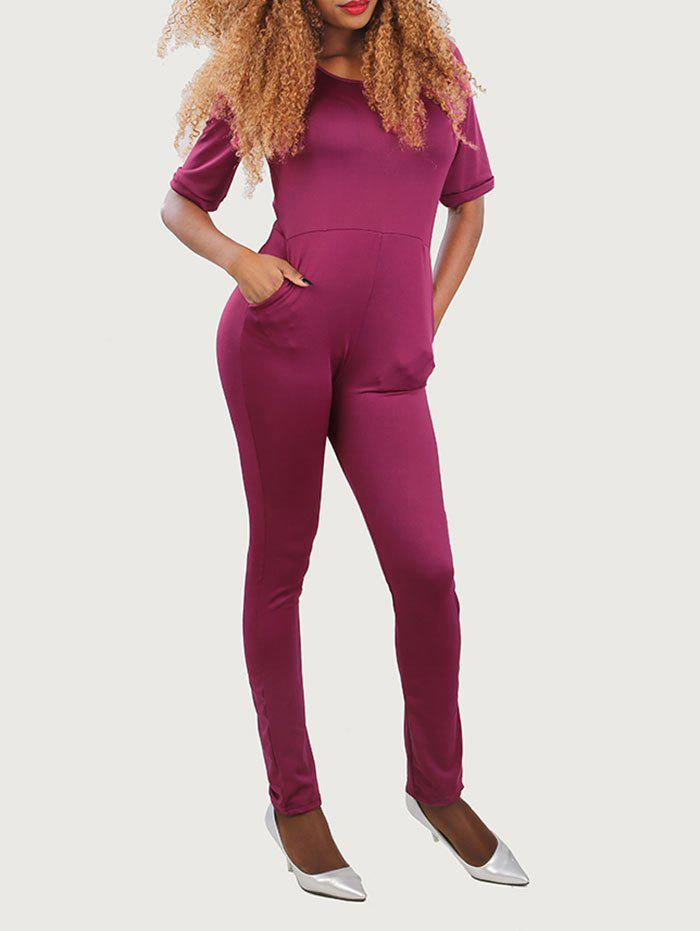 Half Sleeve Cut Out Jumpsuit - PURPLISH RED XL