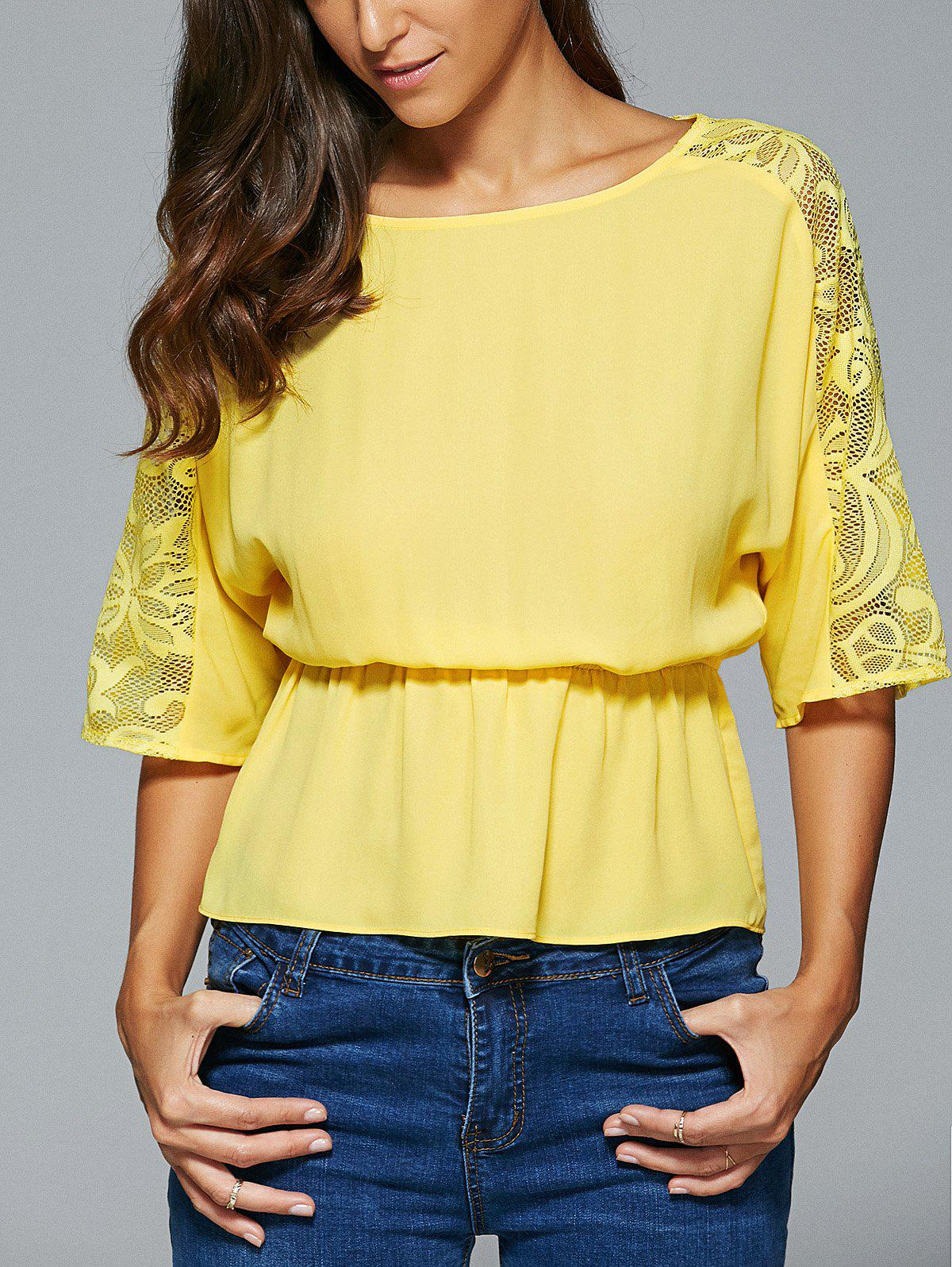 Lace Spliced 3/4 Sleeve Elastic Waist Blouse - YELLOW XL