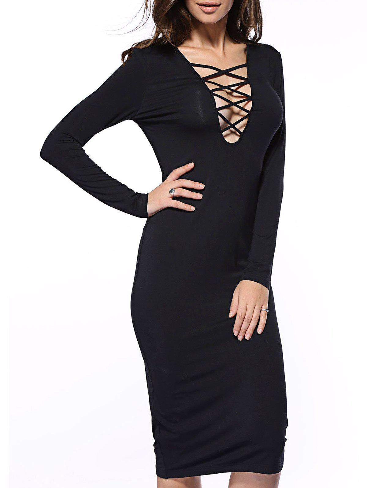 Criss Cross Long Sleeve Dress - BLACK XL
