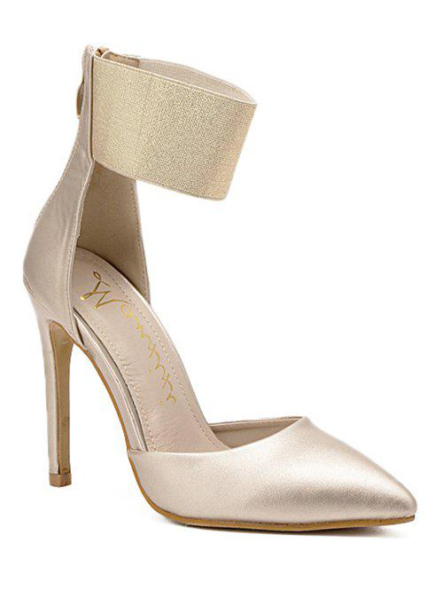 Pointed Toe Elastic Band Pumps - GOLDEN 38