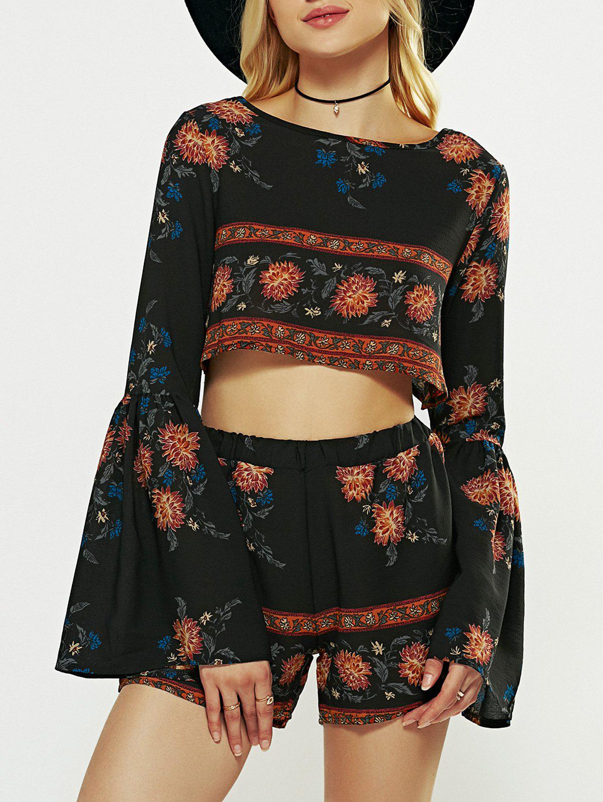 Long Flare Sleeve Crop Top and Print Shorts - BLACK XL