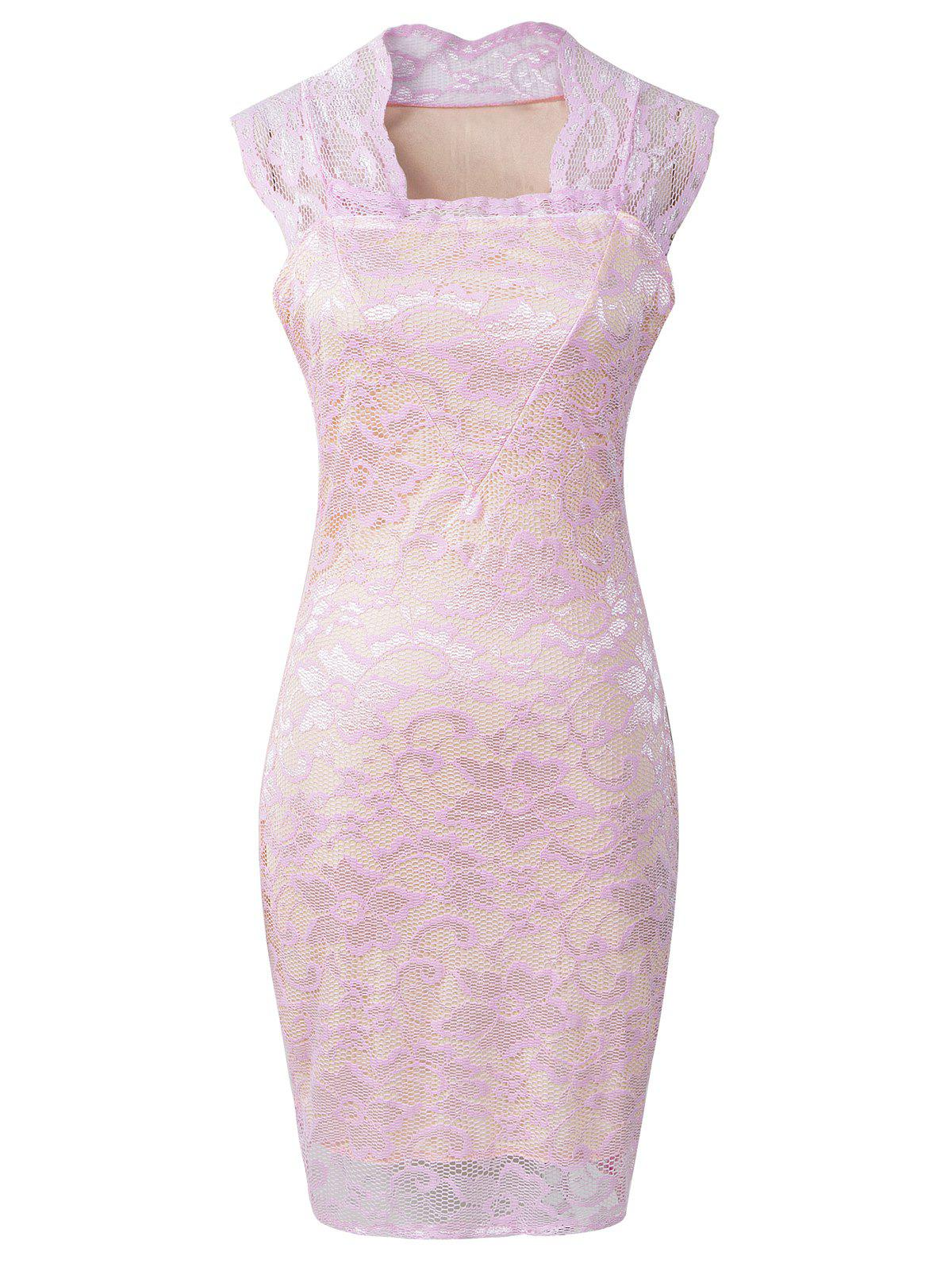 Hollow Out Floral Pattern Slimming Dress, PINK, XL in Lace ...