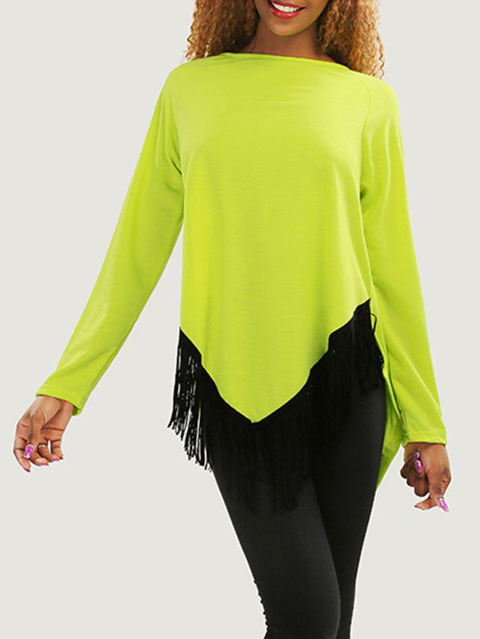 Asymmetric Tassel Long Sleeve Tee - YELLOW XL
