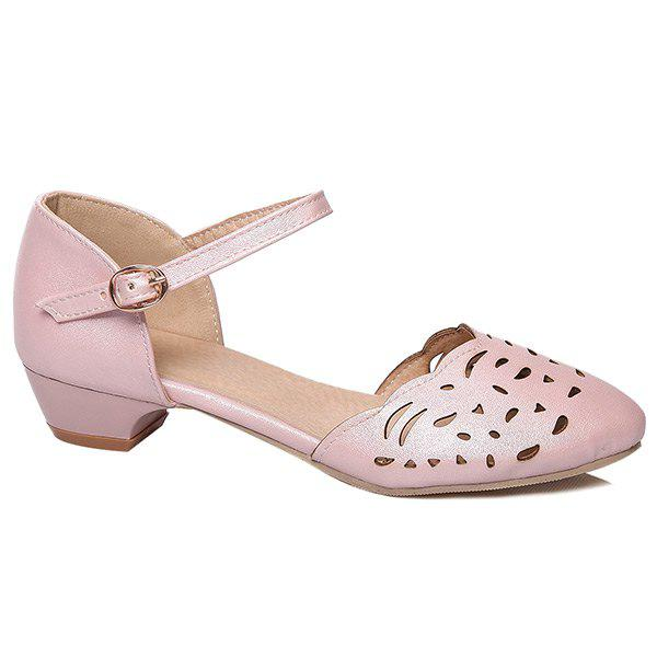 Hollow Out Ankle Strap Flat Shoes - PINK 37