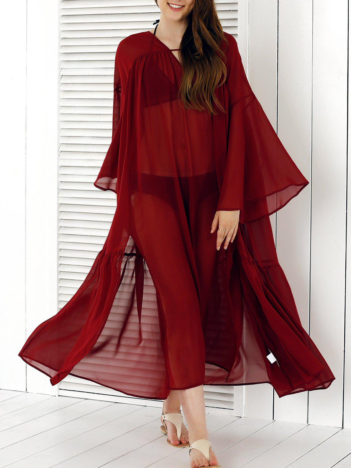 See-Through Split Cover-Up - WINE RED XL