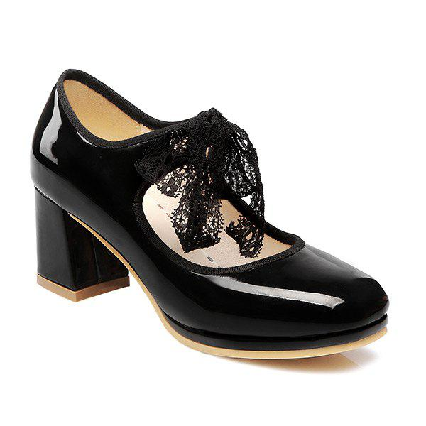 Lace Splicing Bow Pumps - BLACK 37