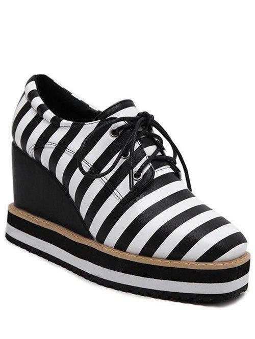 Striped Square Toe Lace-Up Platform Shoes - BLACK 38