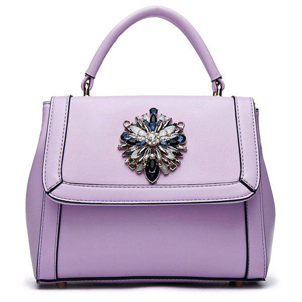 Fashionable Rhinestones and Solid Colour Design Women's Tote Bag - LIGHT PURPLE