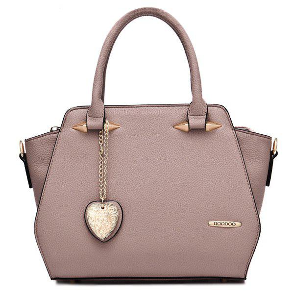 Trendy PU Leather and Metal Design Women's Tote Bag - PINK