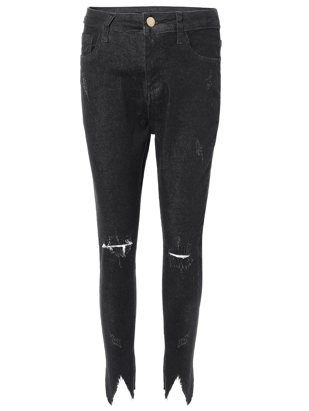 Distressed effilochés Garniture Jeans - Noir M