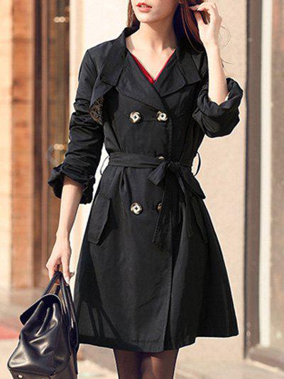Puff Sleeve Belted Trench Coat - BLACK XL
