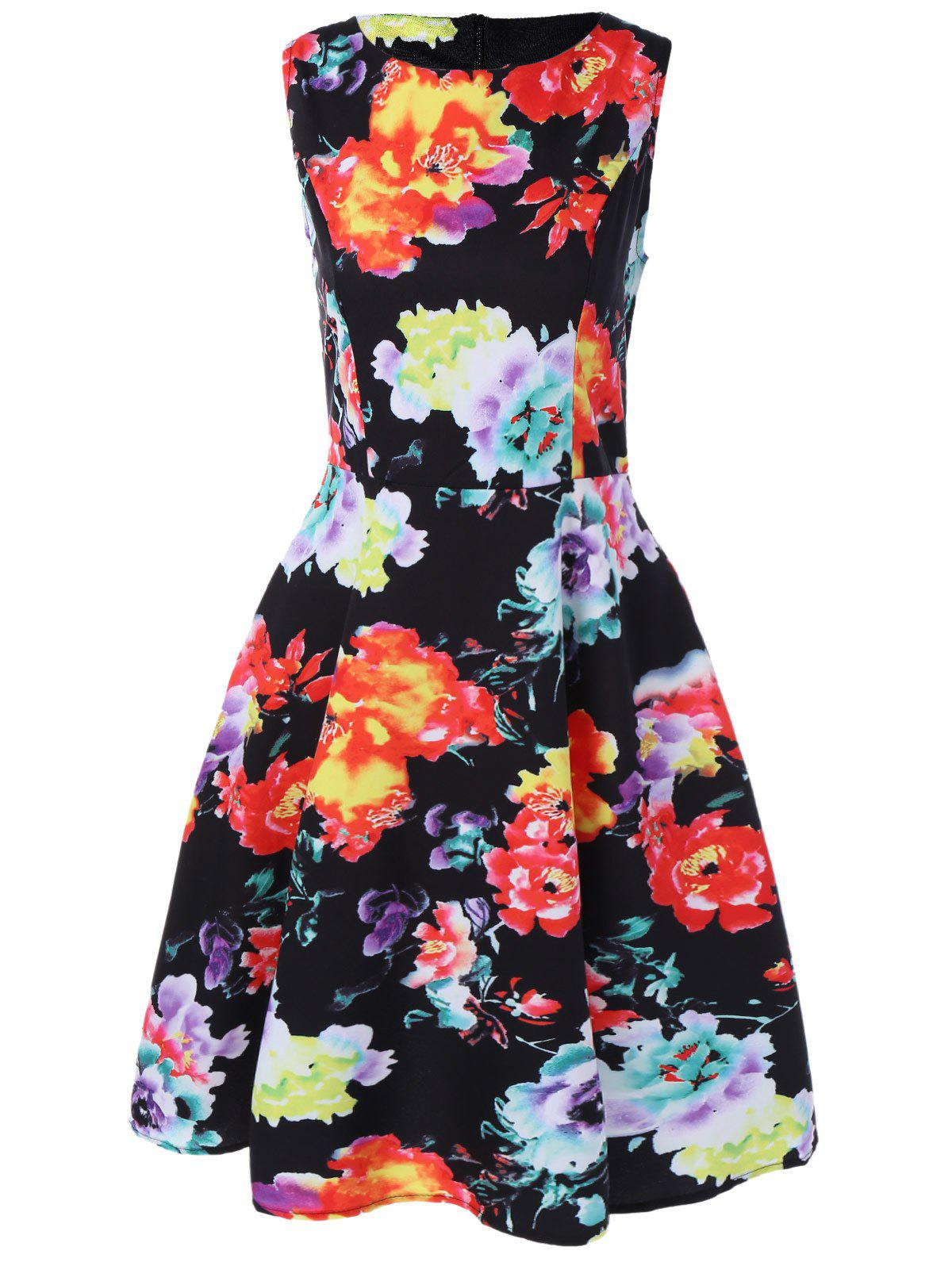 Retro Boat Neck Sleeveless Floral Print Flare Dress - COLORMIX 2XL