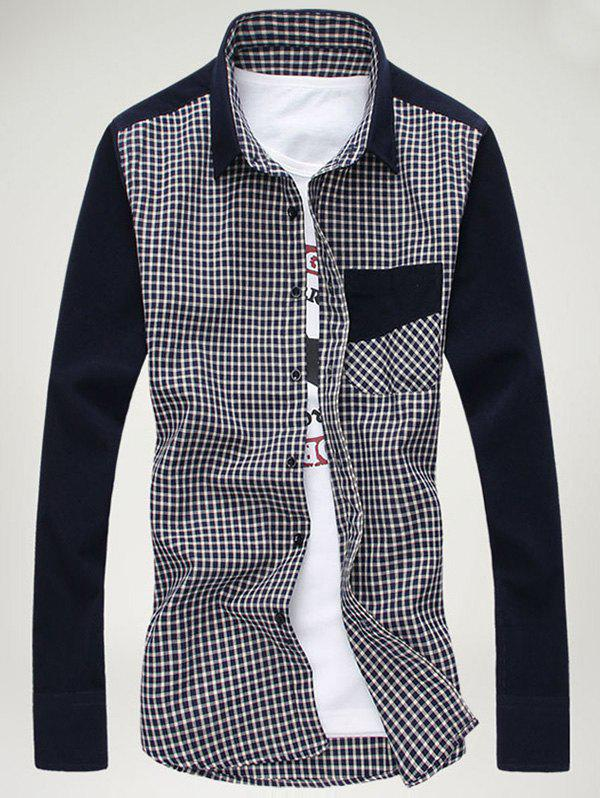Turn-down Collar Gingham Spliced Breast Pocket Shirt asymmetric gingham pocket shirt