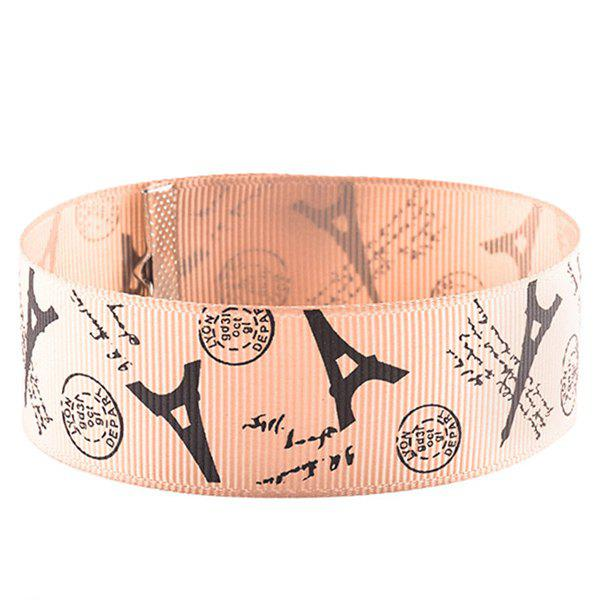 Eiffel Tower Postmark Choker Necklace - PINK