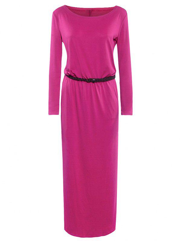 Maxi Boat Neck Elastic Waist Belted Dress - ROSE RED M