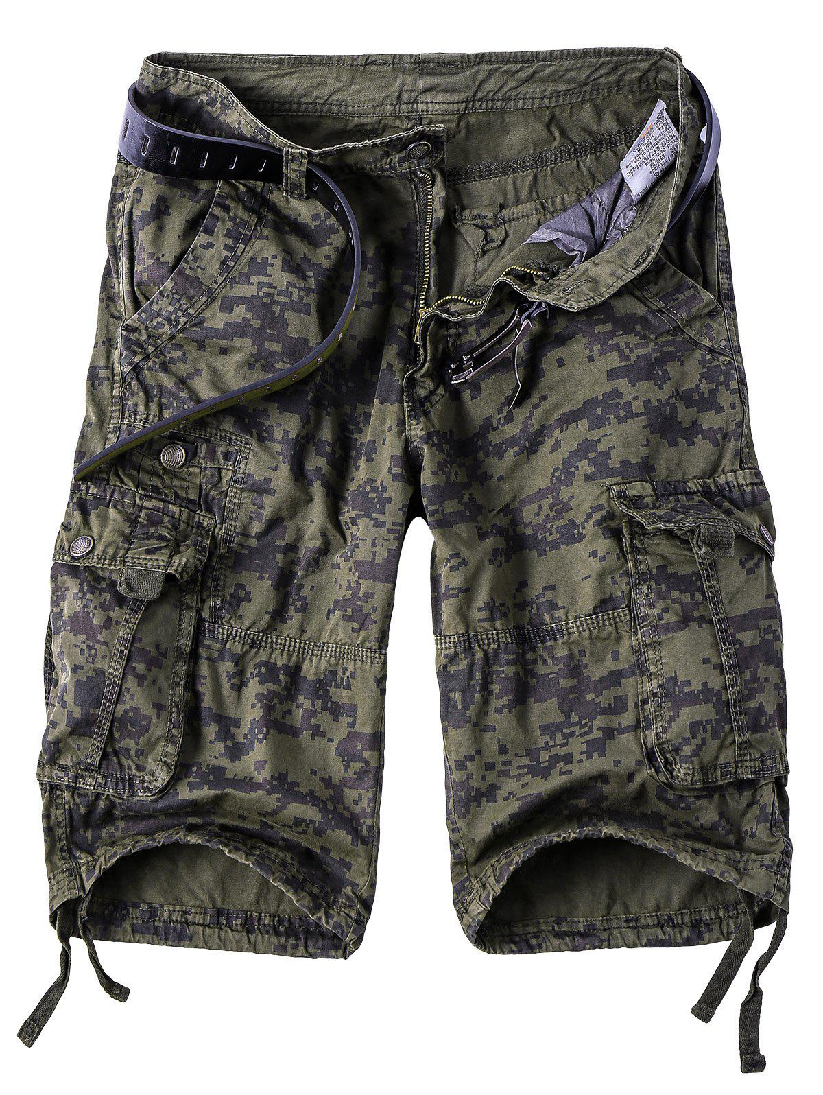 Men's Camouflage Straight Leg Multi-Pocket Zipper Fly Cargo Shorts - CAMOUFLAGE 3XL