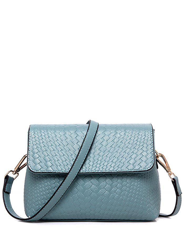 PU Leather Weaving Crossbody Bag - BLUE