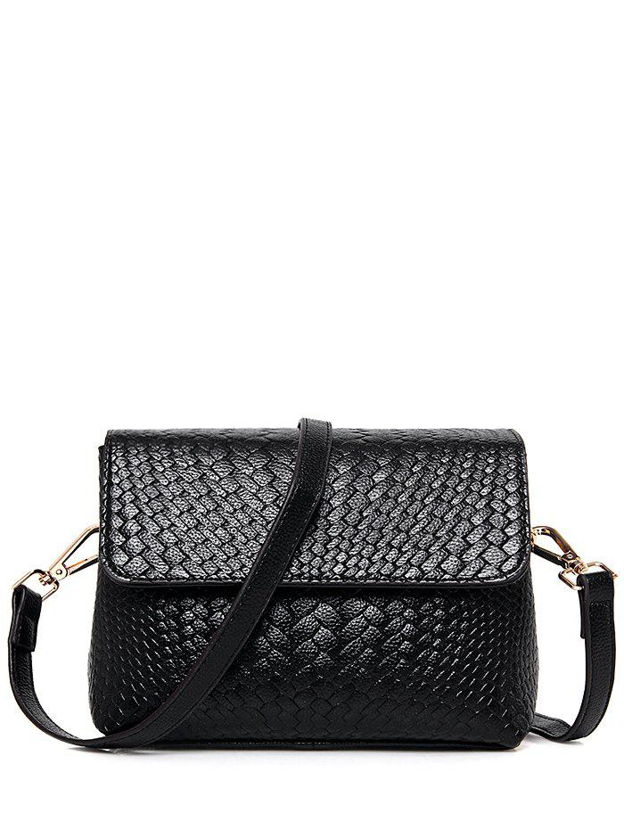 PU Leather Weaving Crossbody Bag - BLACK