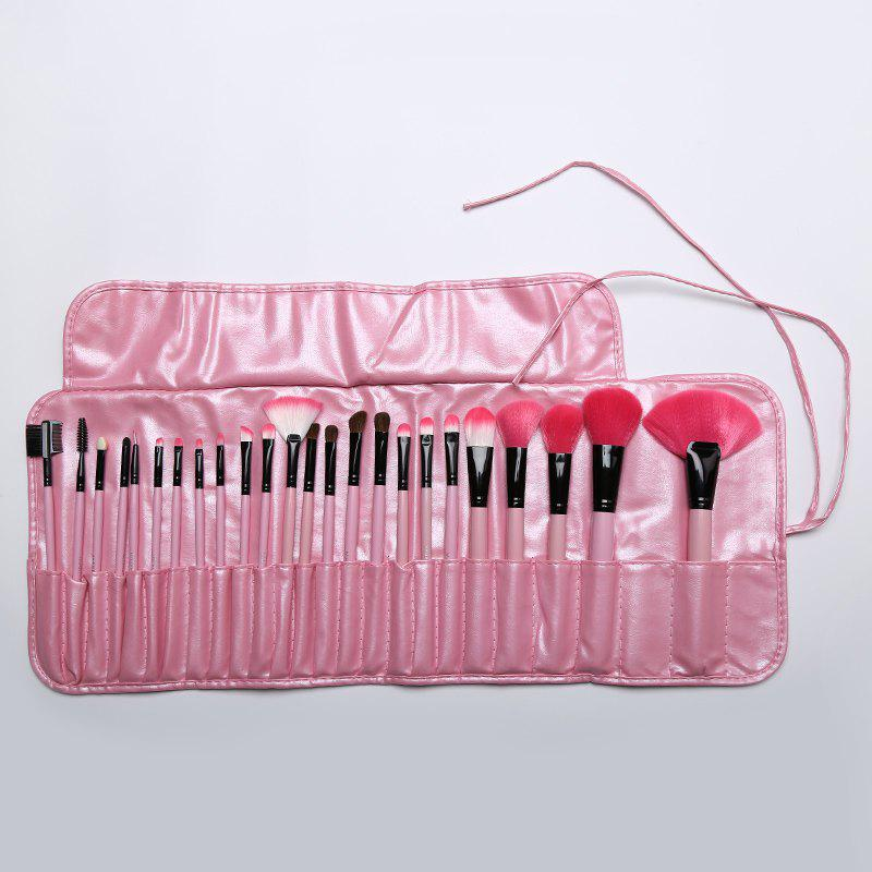 Cosmetic 24 Pcs Soft Pony Hair Makeup Brushes Set with PU Leather Brush Bag