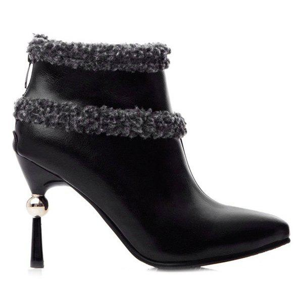 Zipper Pointed Toe Splicing Ankle Boots - BLACK 38