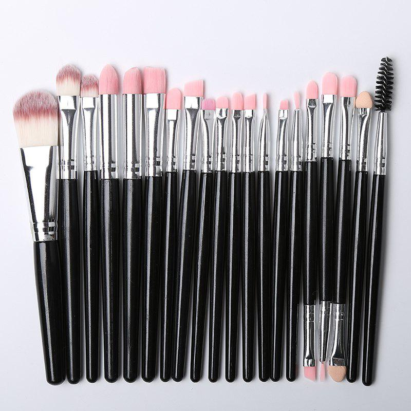 Practical Multifunction 20 Pcs Plastic Handle Nylon Makeup Brushes Set - BLACK