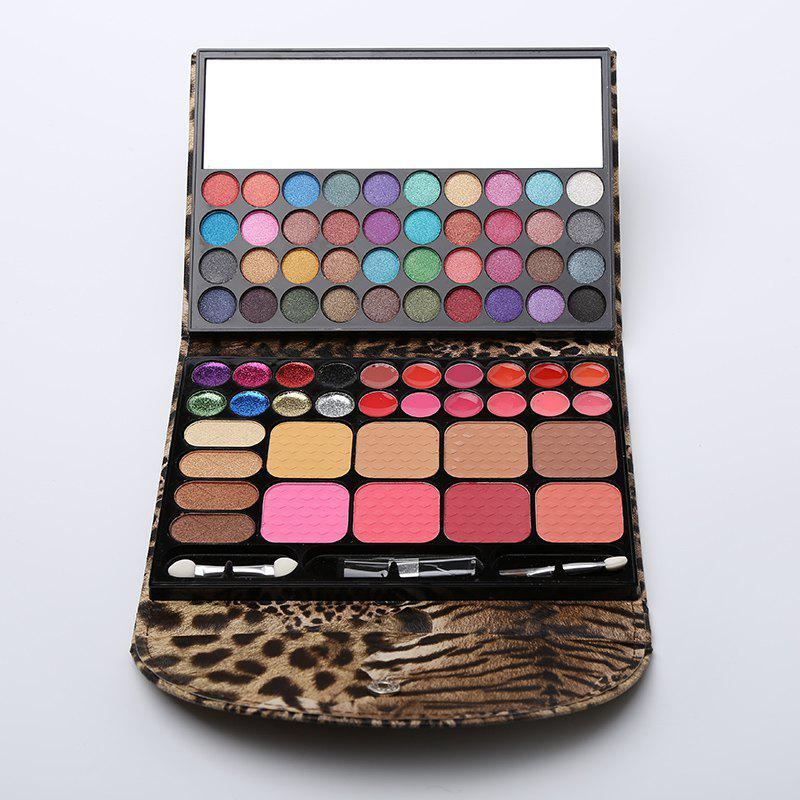 Natural 72 Colours Eye Shadow Blusher Bronzing Powder Lip Gloss Makeup Set Palette with Mirror and Brushes - LEOPARD