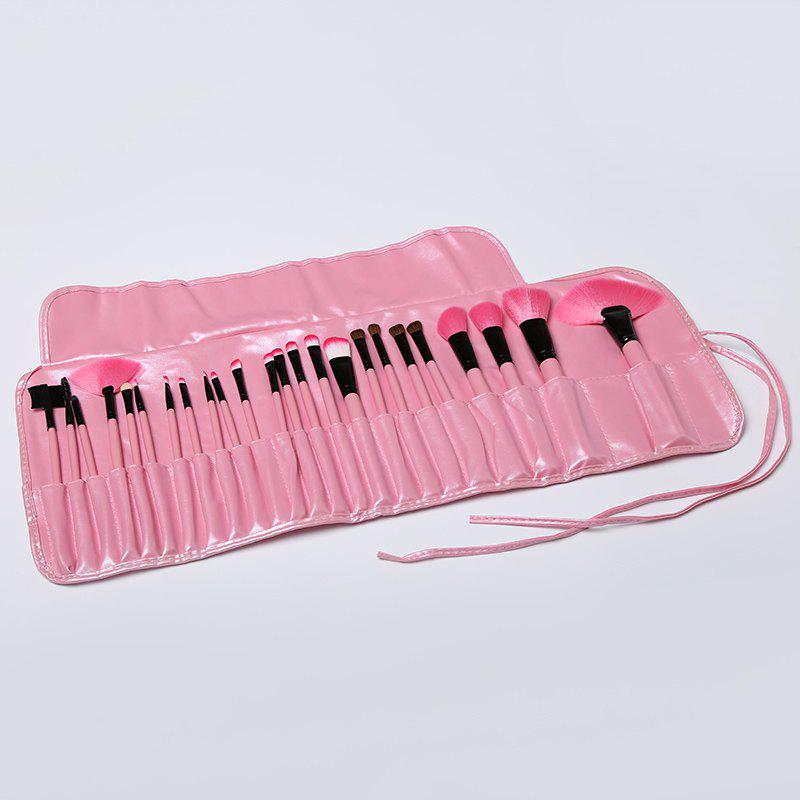 Professional 24 Pcs Multifunction Soft Pony Hair Fiber Face Lip Eye Makeup Brushes Set with Brush Bag - PINK