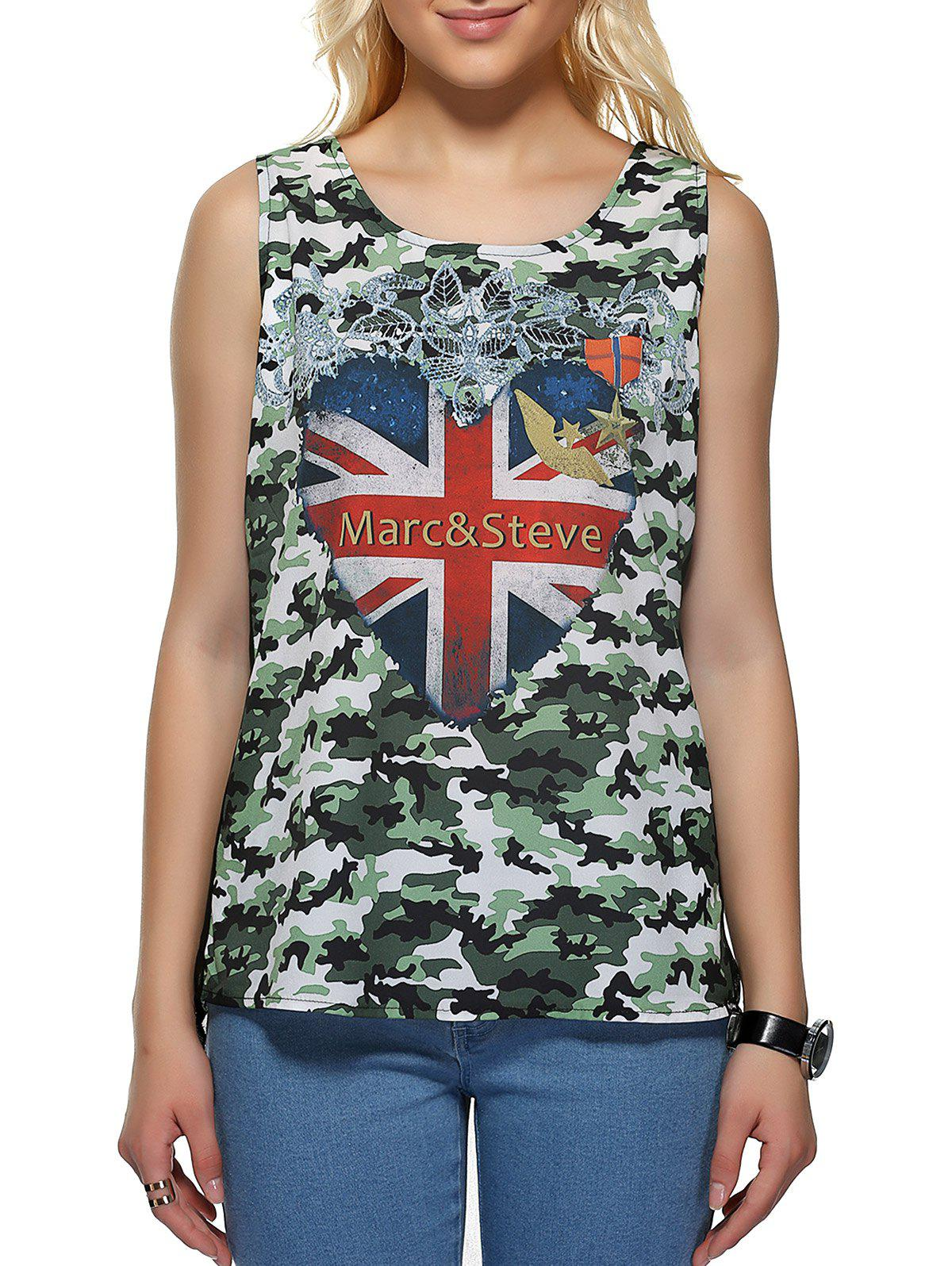 Camouflage Flag Pattern Tank TopWomen<br><br><br>Size: S<br>Color: GREEN
