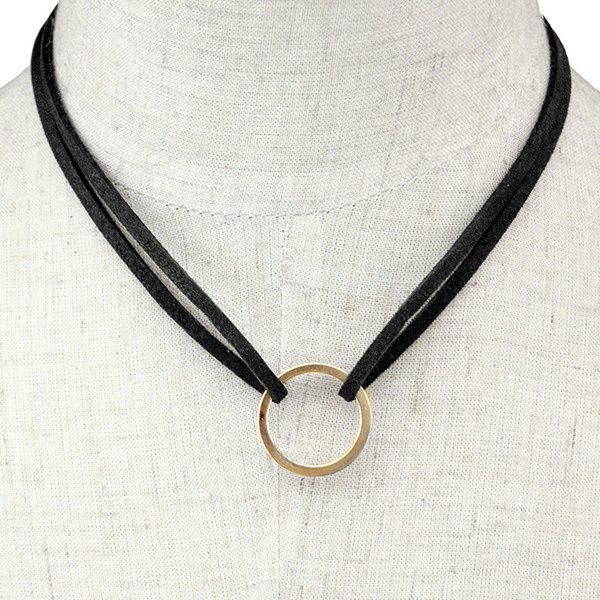 Faux Leather Circle Layered Necklace - BLACK