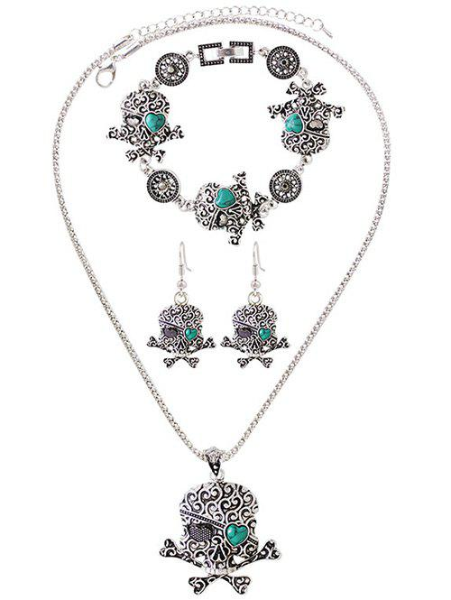 Faux Turquoise Heart Skull Jewelry Set - SILVER