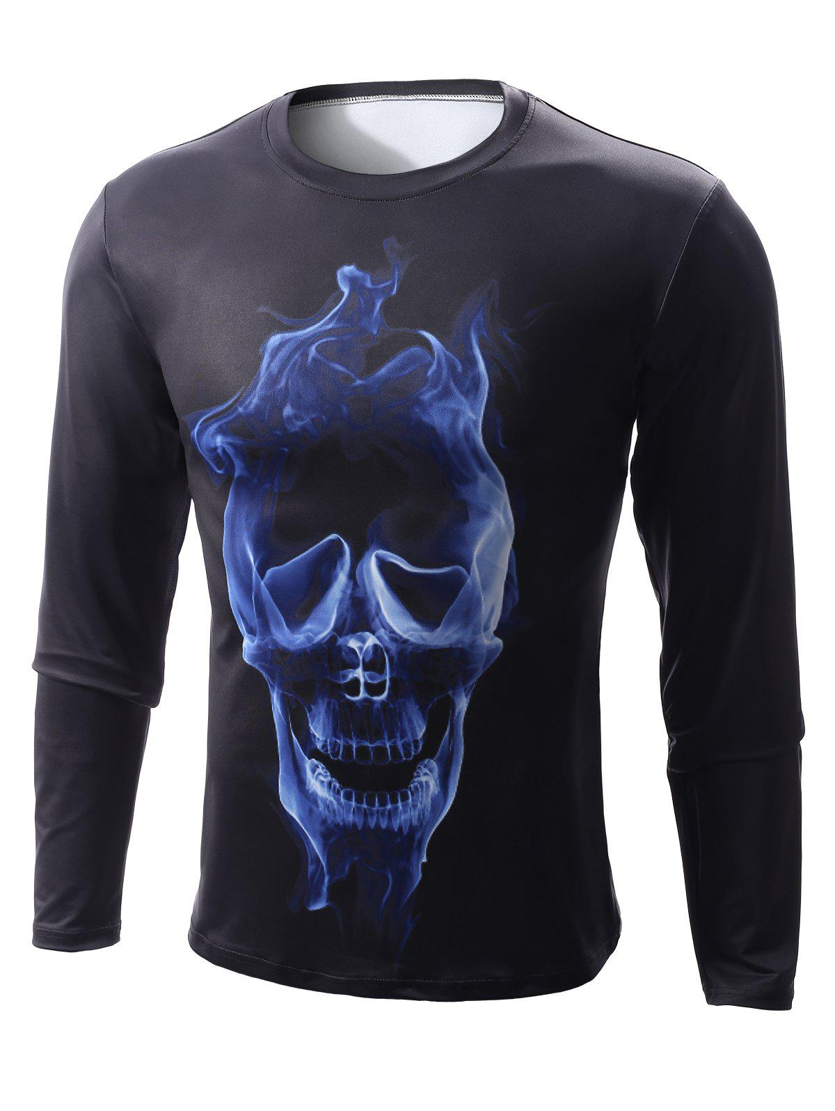 Round Neck Long Sleeve 3D Skull Flame Print T-Shirt - BLACK S
