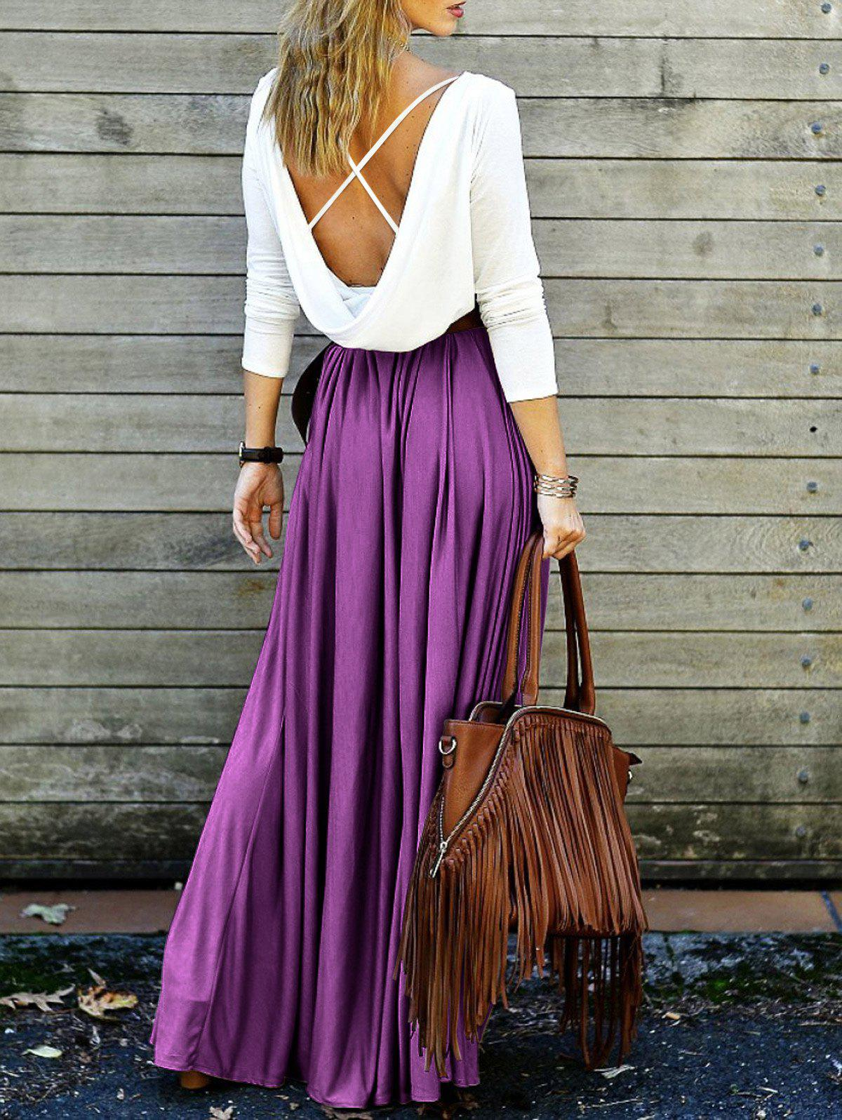 Back Plunging V Criss-Cross Spliced Maxi Dress - PURPLE XL