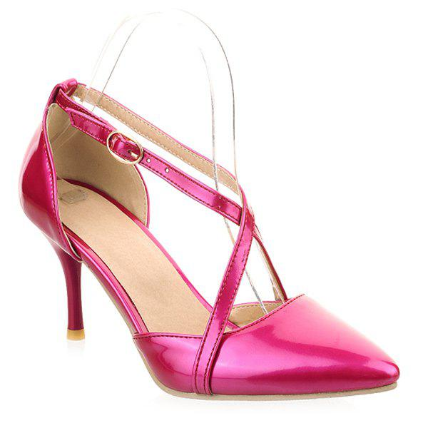 Pointed Toe Patent Leather Cross Straps Pumps - ROSE MADDER 39