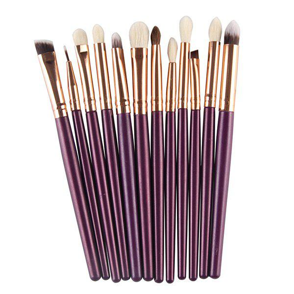 Professional 12 Pcs Goat Hair Eye Makeup Brush Set - PURPLE