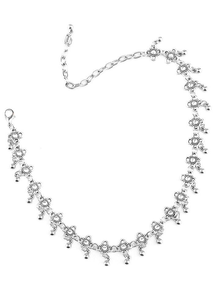 Alloy Floral Beads Choker Necklace - SILVER