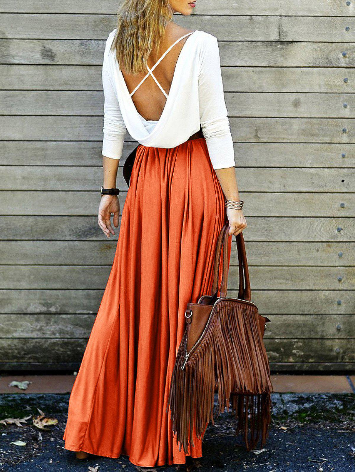 Spliced Back Plunging V Criss-Cross Maxi Dress - ORANGE XL