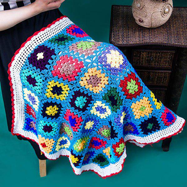 Confortable Checkered Lacy Knitting Blanket Hollowed For Kids - multicolorcolore