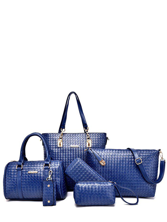 PU Leather Woven Pattern Metal Shoulder Bag - BLUE